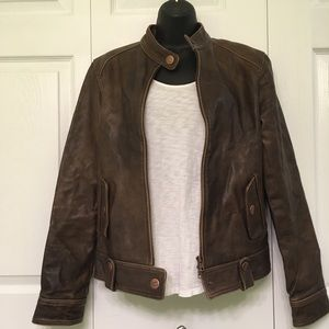 Ezra Fitch Cafe Leather Motorcycle Jacket